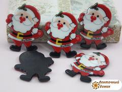 Плоский  декор Санта на черном фоне (глянец)