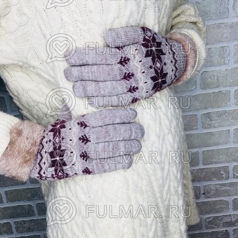 Перчатки со снежинками шерстяные (цвет: светло кофейный)