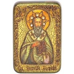 Инкрустированная Икона Святитель Василий Великий 15х10см на натуральном дереве в подарочной коробке