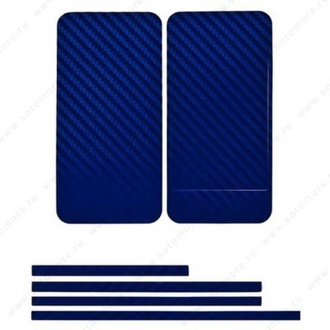 Наклейка карбон для iPhone 4s/ 4 синяя на переднюю, заднюю и боковые части