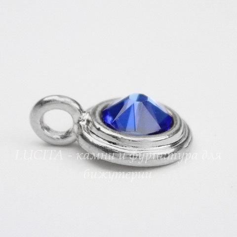 """Подвеска TierraCast со стразом """"Sapphire"""" (цвет-платина) 17х12 мм"""