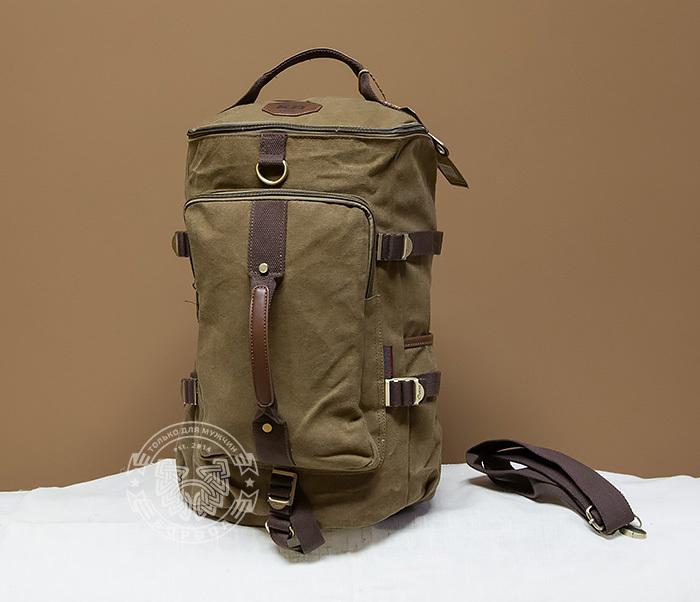 BAG368-2 Вместительная мужская тканевая сумка - рюкзак с ремнем на плечо фото 01