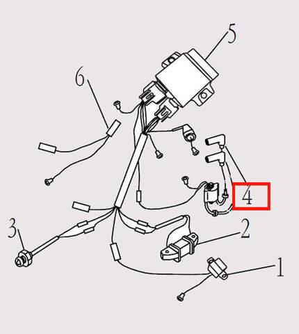 Катушка высоковольтная для лодочного мотора F9.8 Sea-PRO (14-4)