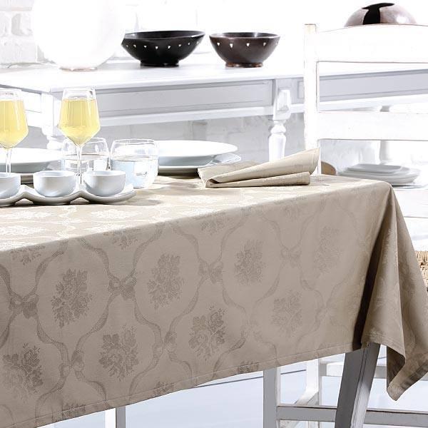 Скатерть 180x270 и 12 салфеток Vingi Ricami Flora белая