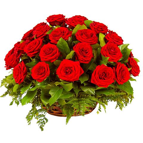 Букет 25 роз в корзине