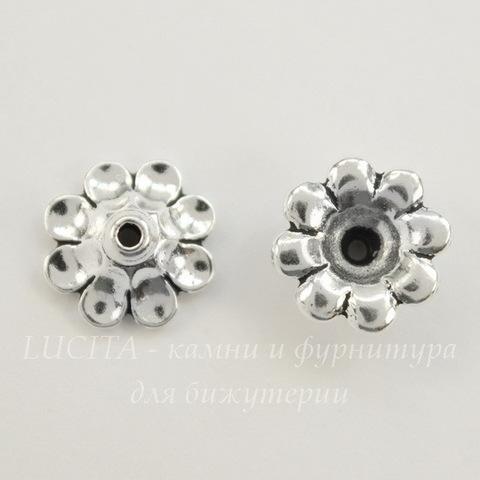 "Шапочка для бусины TierraCast ""Цветок"" (цвет-античное серебро) 11х5 мм"