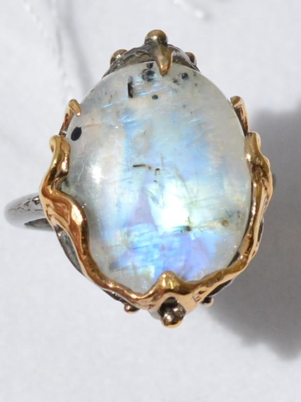Лунник малый (серебряное кольцо с позолотой)