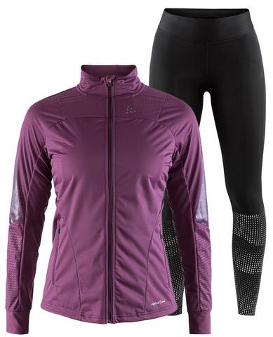 Элитный утепленный костюм для бега Craft Sharp XC Delta 2.0 Violet-Black женский
