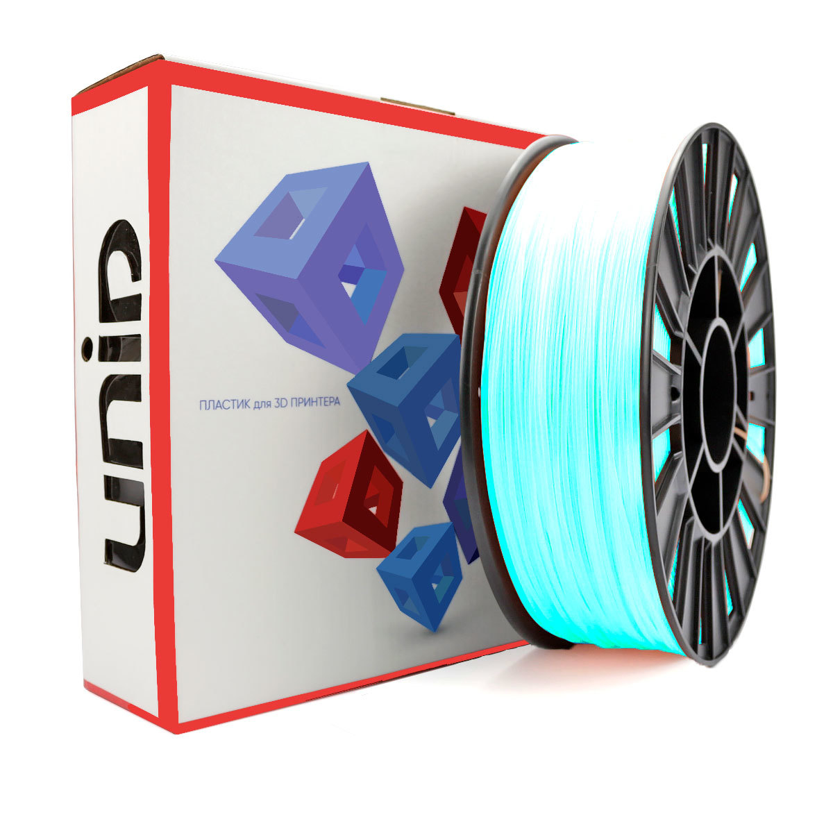 Пластик ABS в катушках светится голубым