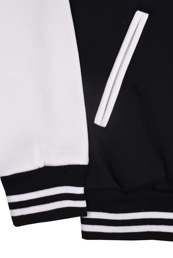 Бомбер черный с белым фото карман