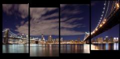"""Модульная картина """"Ночной Бруклинский мост """""""