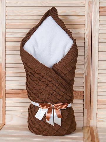 Зимний вязаный конверт одеяло Лапушка (коричневый)