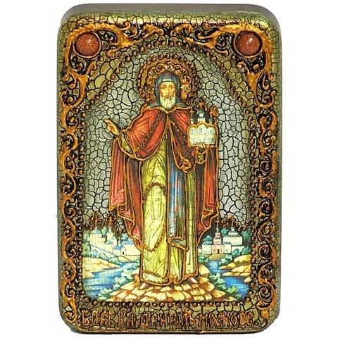 Инкрустированная Икона Святой благоверный князь Даниил Московский 15х10см на натуральном дереве, в подарочной коробке