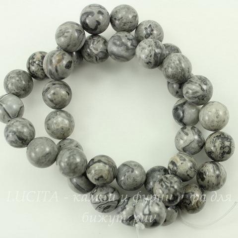 Бусина Яшма Пейзажная, шарик, цвет - серый, 10 мм, нить