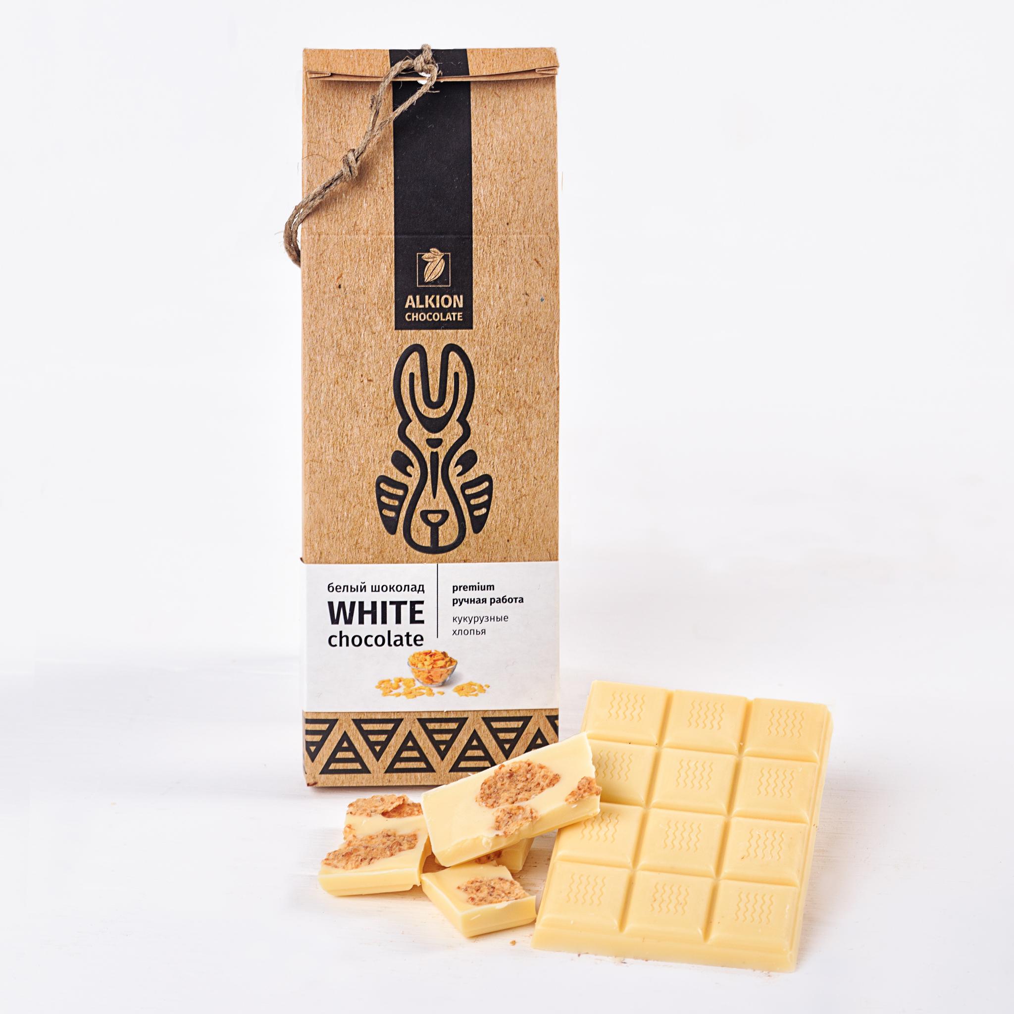Шоколад Алкион белый с кукурузными хлопьями
