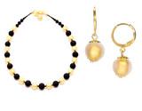 Комплект Domino Perla Matt золотистый с золотистыми серьгами