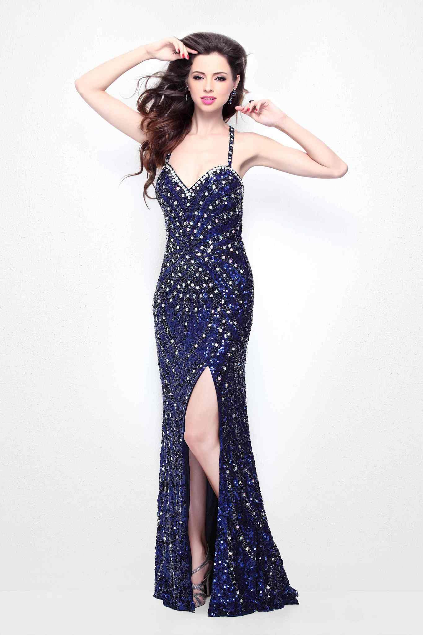 Синее длинное платье на бретелях Aliya 99756