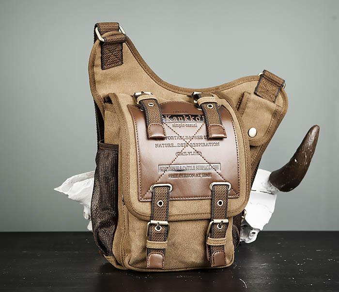 BAG307-2 Текстильная набедренная сумка коричневого цвета