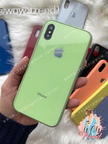 Чехол iPhone XS MAX Glass Pastel color Logo /mint/