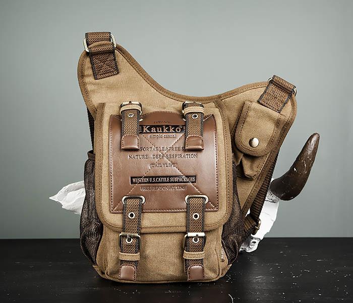BAG307-2 Текстильная набедренная сумка коричневого цвета фото 02
