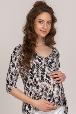 Блузка для беременных и кормящих 10507 черно-белый