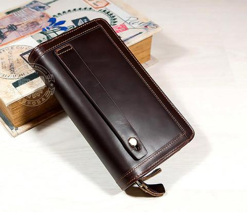 WL262-2 Мужской кожаный клатч с отделениями на молнии