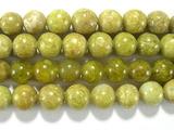 Нить бусин из опала зеленого, шар гладкий 6мм