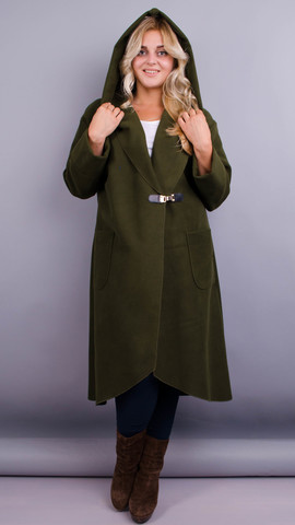 Сарена. Женское пальто-кардиган больших размеров. Олива.