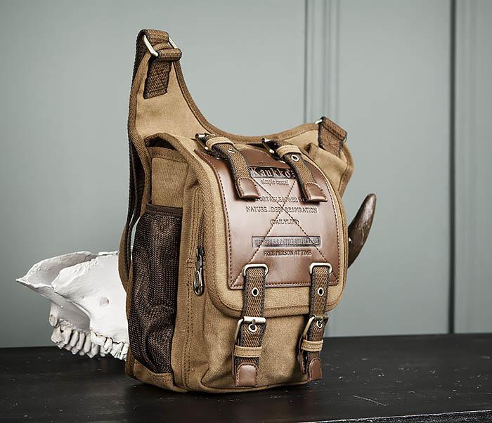 BAG307-2 Текстильная набедренная сумка коричневого цвета фото 03