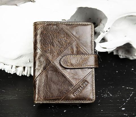 Мужское портмоне из кожи с монетницей