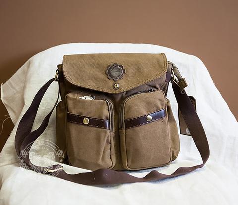 BAG374-2 Мужская сумка из прочной ткани коричневого цвета, вмещает А4