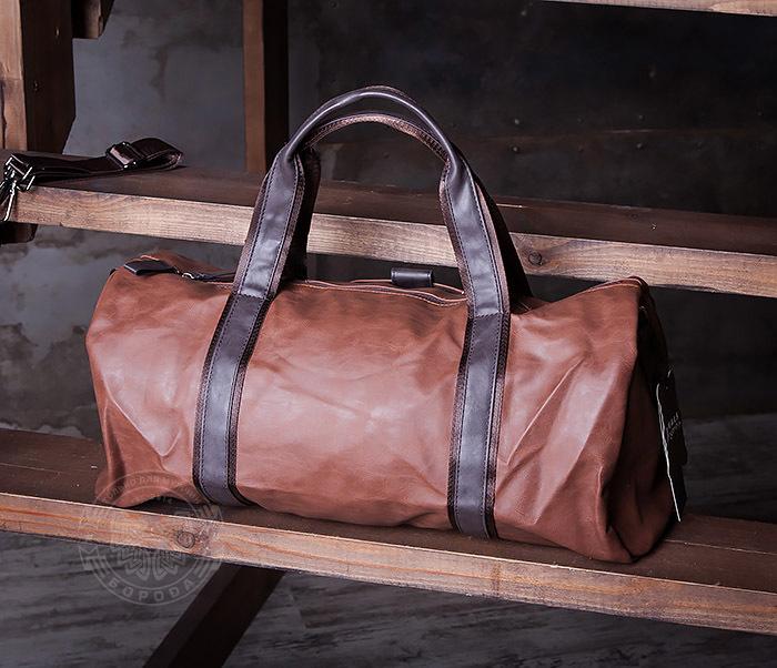 BAG408-2 Мужская сумка коричневого цвета из искусственной кожи фото 03
