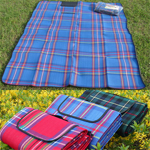 Для отдыха/путешествий Коврик для пикника Multifunctional Mat Picnic-Camping-Moistureproof-Mat-Plaid-Blanket-3-colors-Blue-Red-Gren.jpg