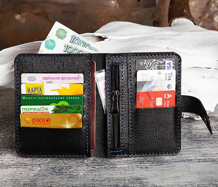 WB169-1 Кожаное портмоне ручной работы для документов фото 08