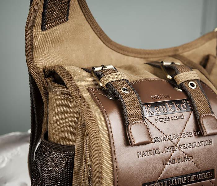 BAG307-2 Текстильная набедренная сумка коричневого цвета фото 04