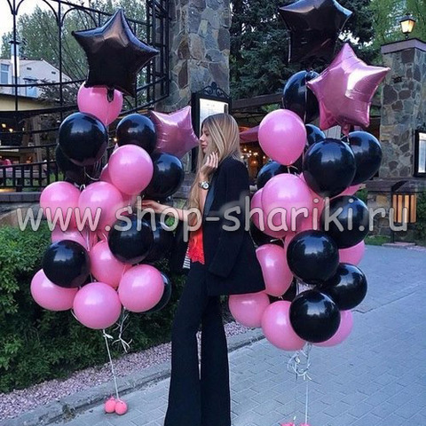 Шары черные и розовые
