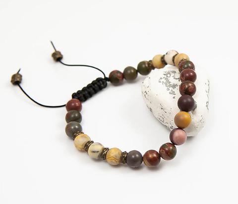 Мужской браслет из разноцветного агата