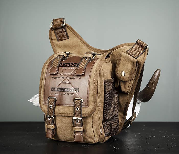 BAG307-2 Текстильная набедренная сумка коричневого цвета фото 05