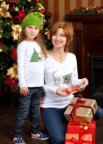 f7810a36010c НГ! Кор Длин рукав! Одинаковые футболки для всей семьи