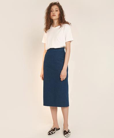 Миди-юбка из синего денима