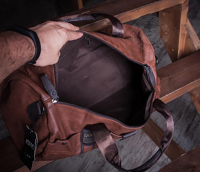 BAG408-2 Мужская сумка коричневого цвета из искусственной кожи фото 06
