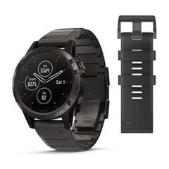 Мужские мультиспортивные часы Garmin Fenix 5 Plus Sapphire - титановый серый DLC с титановым DLC ремешком 010-01988-03