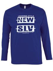 30198-8 футболка муж. с длинным рук. синяя