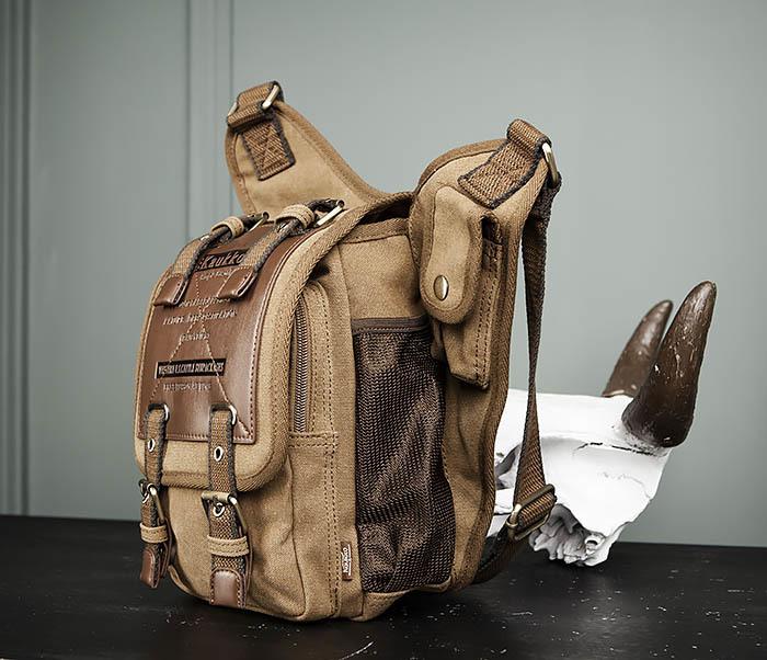 BAG307-2 Текстильная набедренная сумка коричневого цвета фото 06