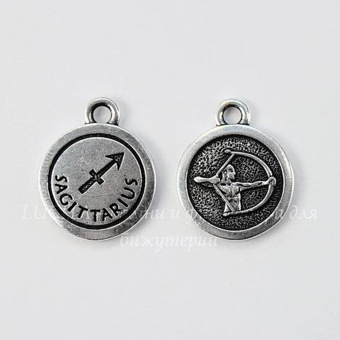 "Подвеска TierraCast знак зодиака ""Стрелец"" (цвет-античное серебро) 19х15 мм"
