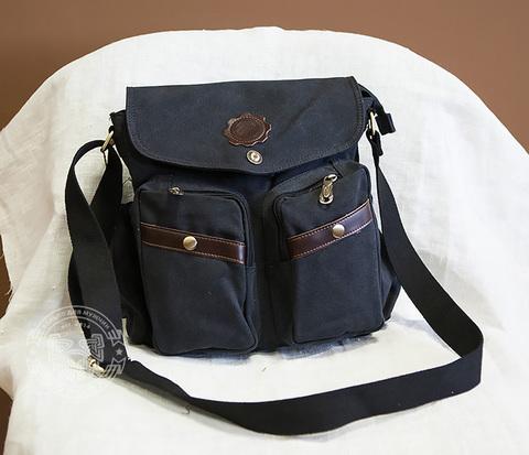 BAG374-1 Мужская сумка из прочной ткани черного цвета, вмещает А4