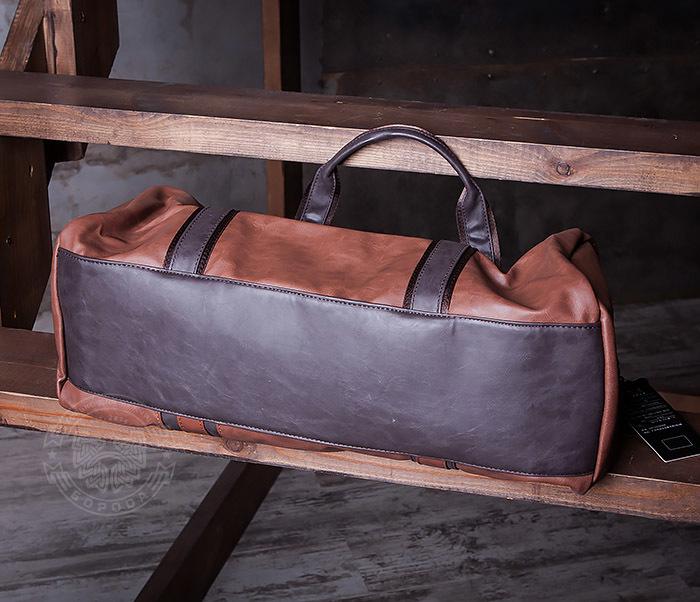 BAG408-2 Мужская сумка коричневого цвета из искусственной кожи фото 05