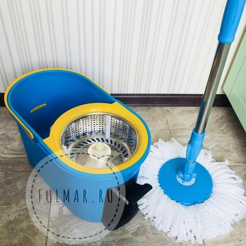 Ведро для уборки с отжимом и полосканием и шваброй Spin Mop 7,5 литров