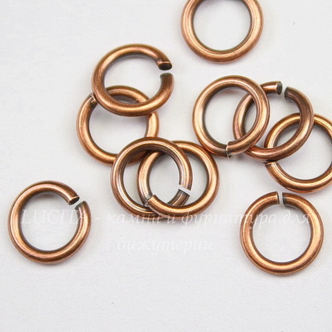 Колечко одинарное TierraCast 7,6х1,2 мм (цвет-античная медь), 10 штук