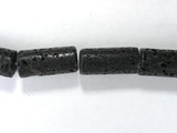 Бусина из лавового камня, фигурная, 10x22 мм (цилиндр, гладкая)